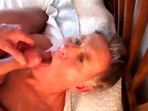 Daddy takes the cum shot to face and mouth