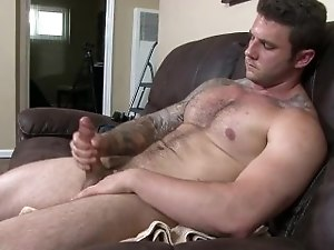 Hung and Hairy Straight Army Hunk Jerks his Cut Cock