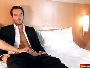 handsome str8 salesman serviced in spite of him for a gay porn