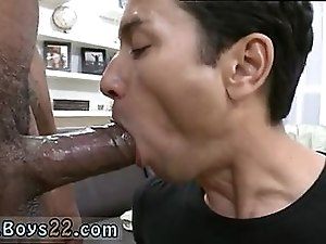 Horny latin dude trying to take huge black dick in his mouth