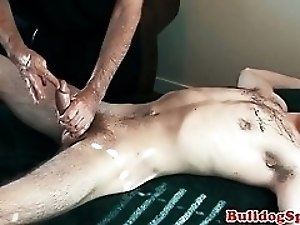 Euro stud cums during kinky cock massage
