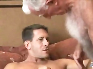 Mature gay man fucks the younger stud in a hotel
